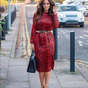 Zara Red Leopard Animal Print Midi Ling Dress